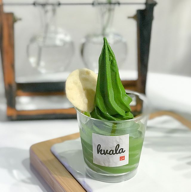 "Ceremonial matcha softserve [$6.80/half cup, $10.80/ full cup, $11.10/regular cone] ""Made from the tenderest hand-picked leaves, this pinnacle grade Matcha is used in traditional Japanese tea ceremonies"", the recently launched ceremonial matcha softserve had replaced houjicha and is available only from Fri-Sun."