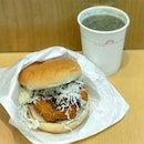Scallop cutlet burger [$4.10] Seasonal special that's only available till end of next week, this scallop cutlet burger comes in with your choice of either rice/burger bun, topped with cabbage slaw and creamy tartar sauce.