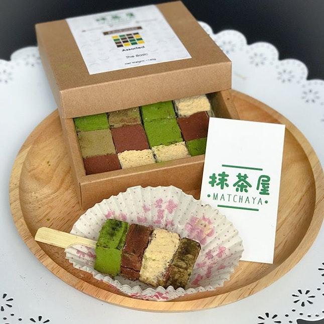 Assorted Chokoreto [$14.90]  Nama dark chocolates in 4 different flavours: Matcha, Houjicha, Kinako or Raw (no coating).