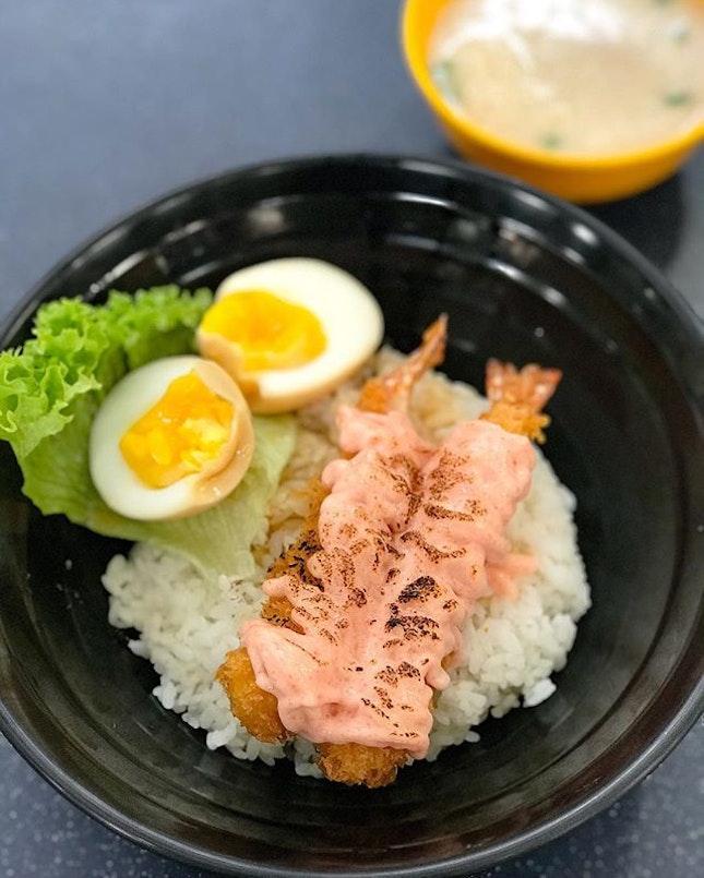 Mentaiko ebi don [$5.50] Wasabi chicken katsu don [$6] .