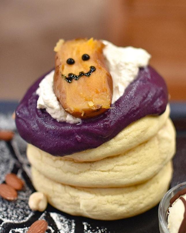 Halloween special menu: Sweet potato baked & purple soufflé pancakes [$20++] .