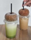 Houji tea donut [$2.80] Iced matcha latte [$5.50] Chocolate donut [$2.90] Haritt's iced milk tea [$5.50] .