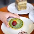 Matcha creme tart [$3] Houjicha creme cake [$5.90] Blueberry creme cake [$5.90] .
