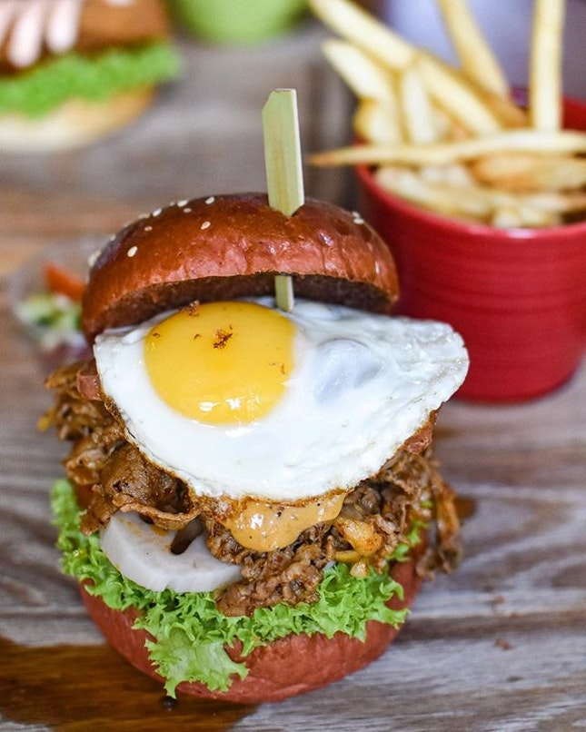 MALA burger [$16.80 ala carte, $24.80 combo beer] with Fried egg add on [+$2] .