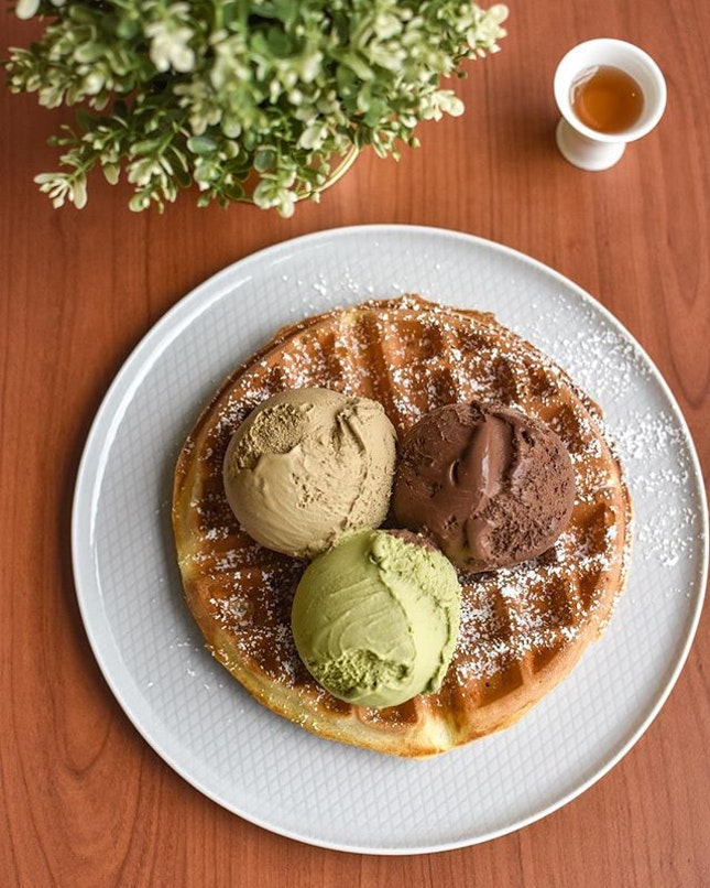 Waffles with triple scoops [$16] .