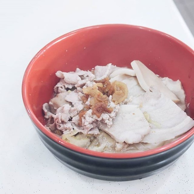 This fusion Japanese-style shoyu mee pok ($7) is located at a coffeeshop somewhere in Clementi.