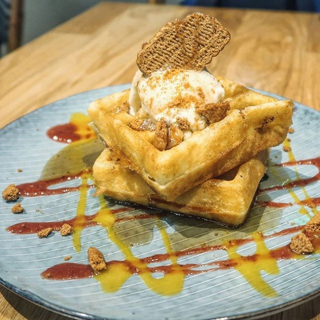 50% off their monthly waffles with single scoop ice cream special on wednesdays.