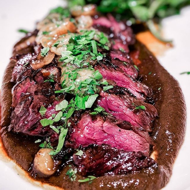 Beautifully pink with an eye-rolling melt in the mouth texture, the onglet ($26/100g) is topped with pearls of creamy bone marrow and while resting on a bed of burnt onion sauce.