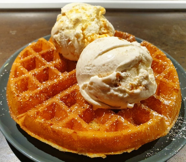 Double Scoop Waffles $12.50