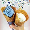 Blue Vanilla With Sea Salt And White Chocolate Miso $5 Per Scoop (+$1 For Cone)