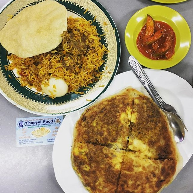 Mutton #briyani and #murtabak - better than expected.