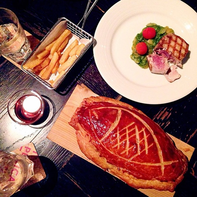 Baked Snapper Pie, Yellowfin Tuna Steak, Old Bay Fries