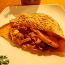 Sriracha chicken whole wheat pita ~ not sure if it's a item on the menu but it tastes great!