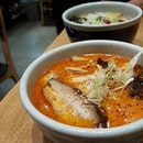 Somewhat hard-pressed to find the right words to describe this, but there's something toe-wigglingly gratifying and potent about the [Kara-Miso Ramen].
