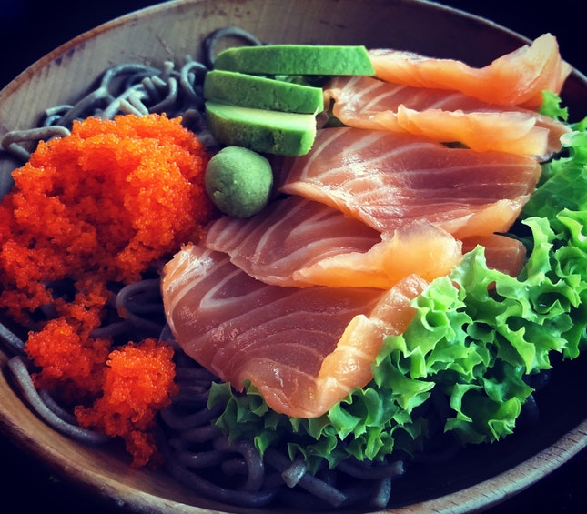 Salmon sashimi with buckwheat soba ($9.90)