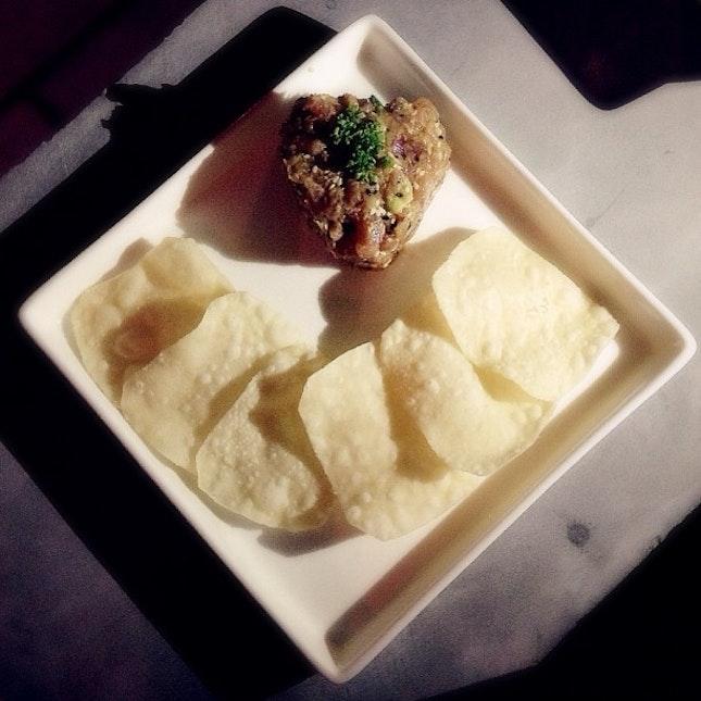 Avocado-Wasabi Tuna Tartare + Flour Chips;