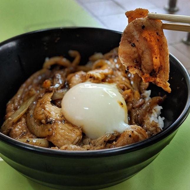 PIC 1 💸: $5+ $0.60 for Onsen Egg [ Black Pepper Pork Rice ]  PIC 3 💸: $5.50 + $0.60 for Onsen Egg [ Black Pepper Beef Hor Fun ] .