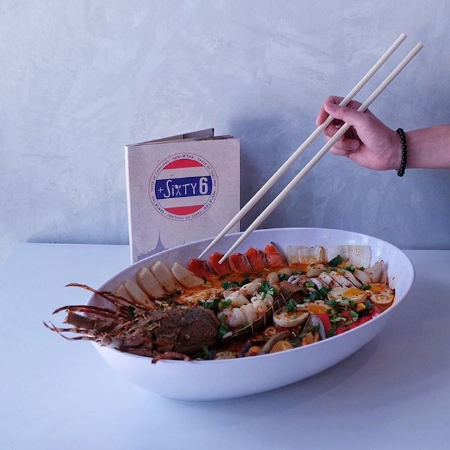 Jumbo Lobster Tom Yum soup [$89 nett] -Lobster -Salmon slices -Squids stuffed with minced meat -Mussels -Fish cakes -Abalone slices -Crab sticks -Eggs -Noodles .