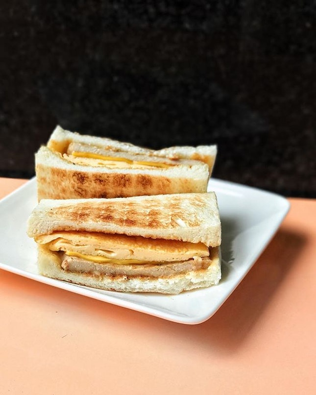 Pork egg toast with cheese and chilli pepper [TWD70] .