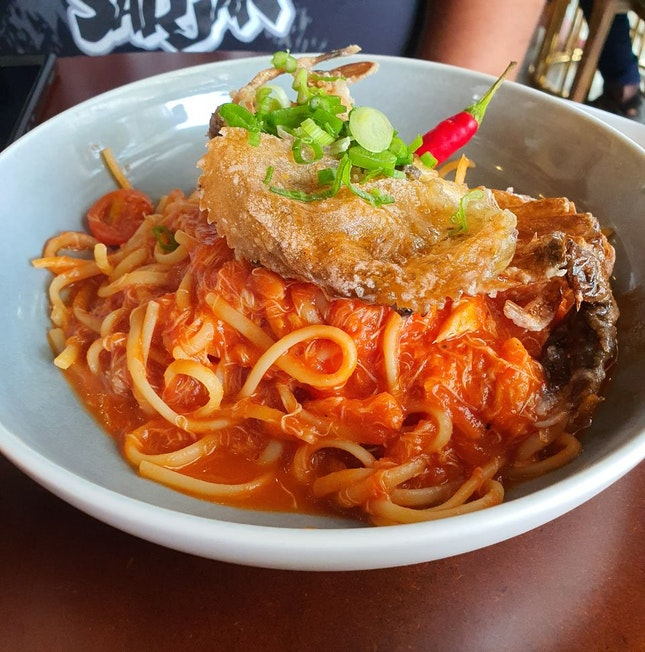 Spicy Softshell Crab Linguine ($26)