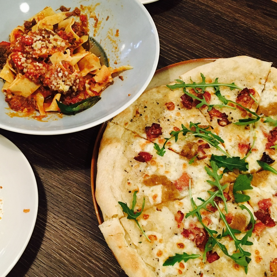 Truffle Carbonara Pizza and Braised Beef Pappardelle