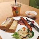 French toast set with Japanese soft boiled egg & Iced mix fruit tea
