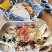 spicy chicken burrito bowl + two mild chicken and a pulled pork quesadillas ~~~ personally preferred the quesadillas bc i loved the melted jack cheese that tied all the ingredients tgt.