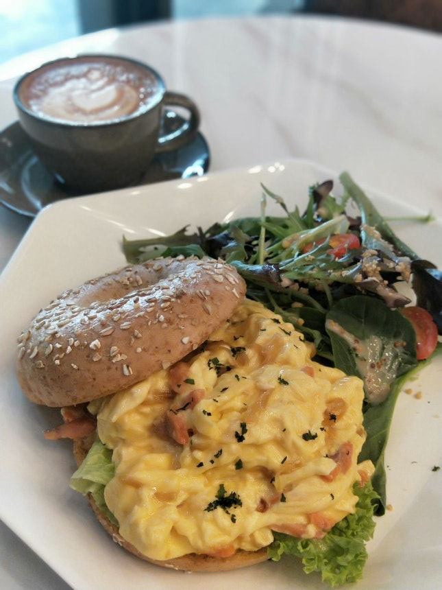 Smoked Salmon w Scrambled Eggs Bagel & Hot Latte