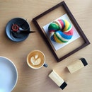 Such cute and pretty Rainbow Bagel (RM10.80) filled with cream cheese to start the weekend!