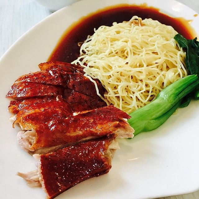 Pathetic portion of roasted duck noodles ($10.90++).