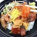 TEPPEI SYOKUDO --------------- TRUFFLE KAISENDON --------------- With Uni, raw salmon, scallop, tuna, swordfish, tsubugai and ikura on a bed of sticky Japanese rice!