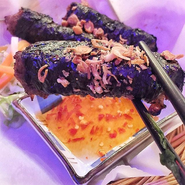 SAIGON ALLEY --------------- LOT LEAF BEEF ROLLS --------------- Wrapped in Betel nut leaves, are perfectly ground beef seasoned in spices.