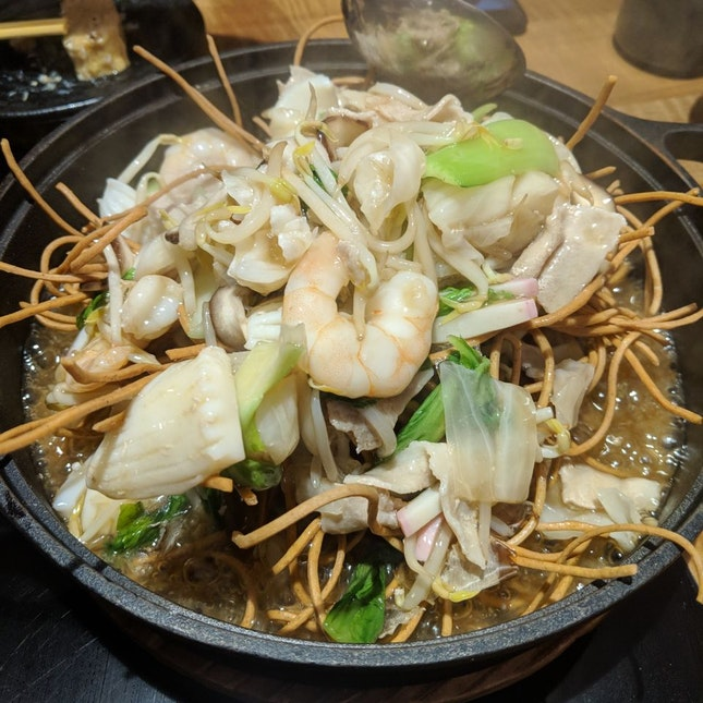 Deep Fried Soba with Sizzling Spicy Sauce [$18]