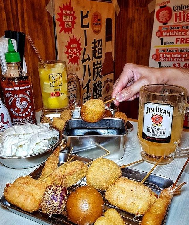 🇯🇵 + 🍤 + 🍻  #KushikatsuTanaka has introduced a Okinawa Fair menu, exclusive in Singapore only 🇸🇬 .