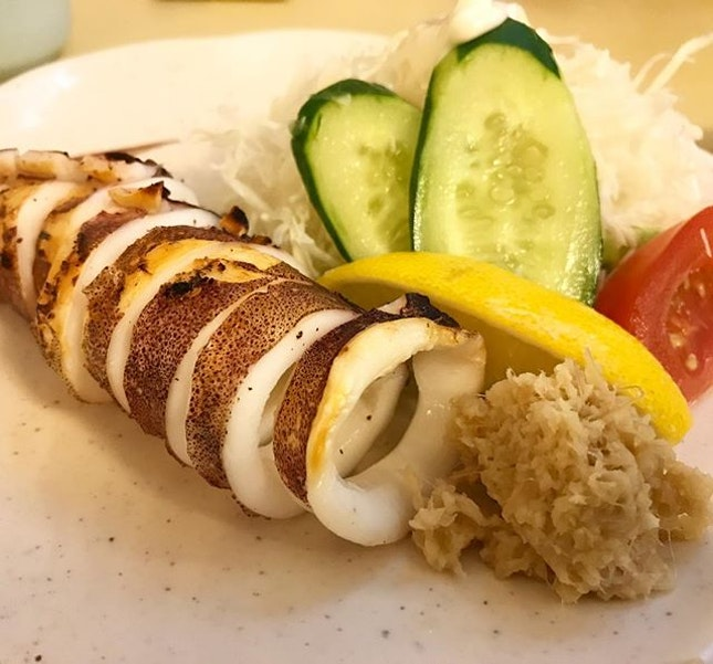 💁🏻BBQ Grilled Squid 🐙🍢 …  #izakayanijumaru #grilledsquid #yaki #foodporn #yakitori #omnomnom #igsg #burpple #burpplesg
