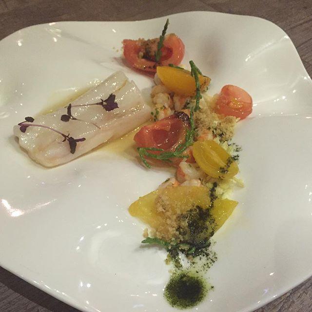 Cod Fish and Black Tiger Prawn ($36) 🍴 Heirloom tomatoes, samphire, thickened seaweed broth.