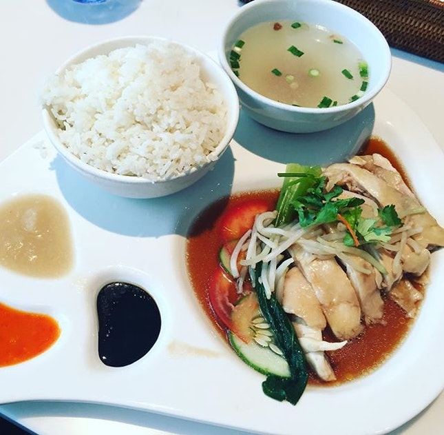 Hainanese Chicken Rice ($7.90) 🍚 Love the presentation of this Singapore signature dish 😘Pleasant to the eyes & tasty to the palate 😍 🍚 #burpple