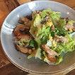 Chicken Teriyaki Salad ($14) 🥗 Crunchy greens & tender chicken chucks.