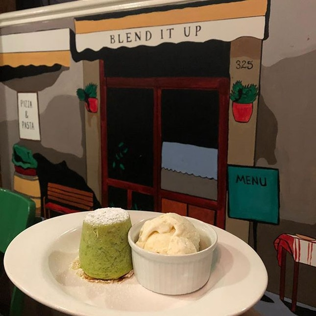 I really like this painted wall & had to use it again as backdrop for our finale: Pistachio Lava Cake ($12) 🍮 After tasting the soft sponge cake with flowy pistachio flavored filling & vanilla ice cream, I could fully understand why the owner strongly recommended this dessert 😘 This just right sweet ending for the nite was good 😉  #burpple