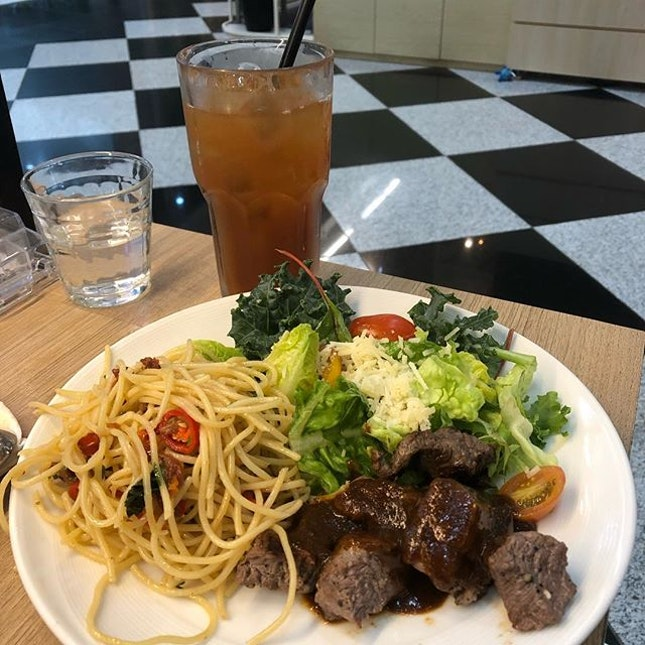 Beef Cubes ($19.90) Set with Iced Lemon Tea (can't change the drink!) 🍹