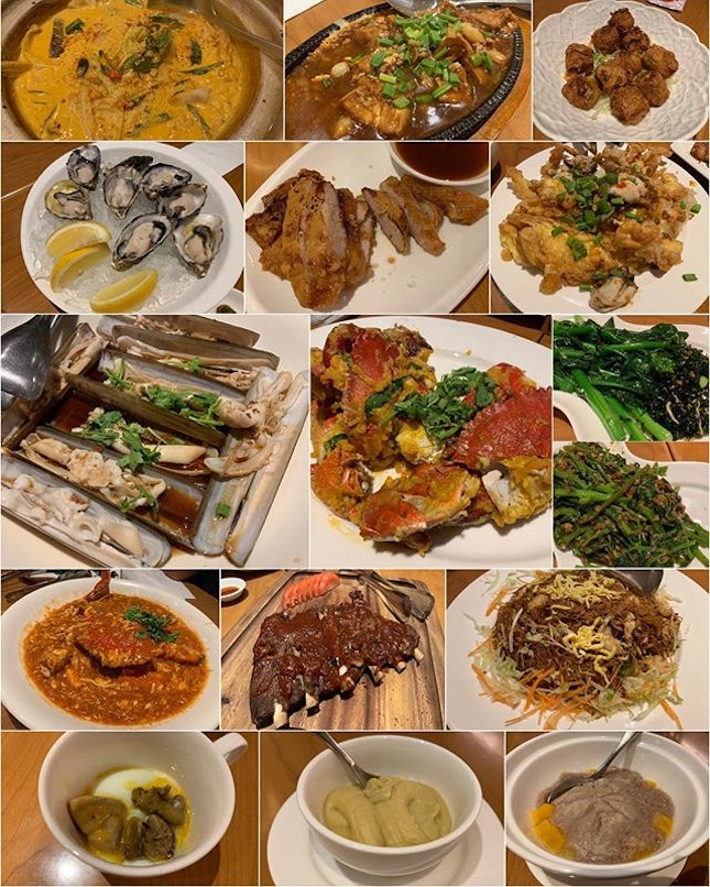 Feasting Sunday 😋 Fish Head Curry ($32) Hotplate Tofu ($16) Hei Chor ($16) Pacific Oysters ($24) Crispy Pork Jowl ($14) Orh Chien ($30) Live Bamboo Clams ($60) 3 500g Crabs ($96) HK Kai Lan ($20) Sambal Kang Kong ($15) Grilled Pork Ribs ($36) Ubin Fried Mee Sua ($28) Foie Gras Egg ($10) Durian Pengat ($6) Orh Ni ($8) 😀 Our top picks were the super fresh oysters, springy tasty live bamboo clams, crispy tender pork jowl, really eggy salted egg crabs, wok hei fried mee sua 😋 Kinda disappointed with the tough pork ribs, slightly bitter kai lan, super oily orh ni 🤨 Overall a good meal but a pricey one 🙂 #burpple