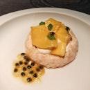 Yuzu Pavlova With Passion Fruit And Mango Topping (part of Rizu Omakase; $15)