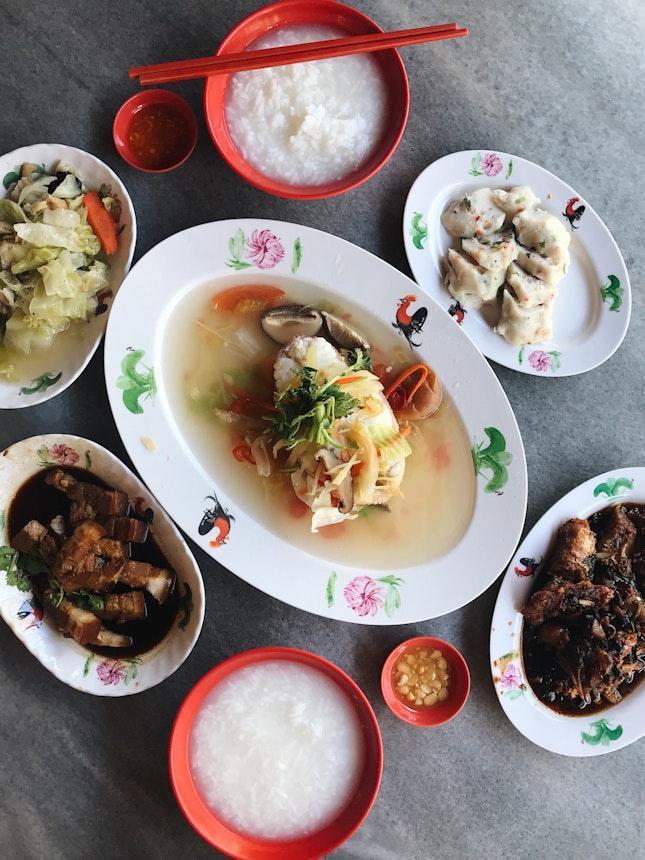 Teochew Steamed Fish ($15) + Pork Belly ($4) + Black Bean Fish ($6) + Cabbage ($2) + Fish Cake ($3) + Porridge ($0.60 for a bowl)