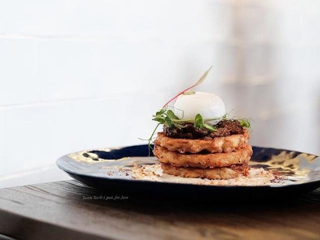 Beef cheek on potato pancake [$22++].