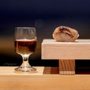 Foie gras hotate sushi, with whiskey pairing (omakase at $68, $98, or $138).