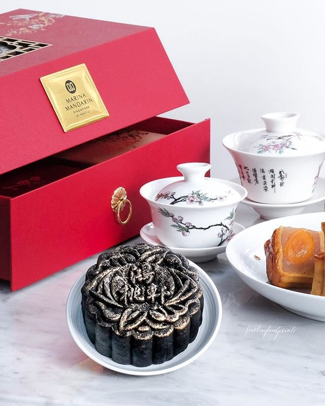 [25% off till 10 Sep, selected credit cards] Signature Black Sesame Mooncakes ($65.80 for 4).