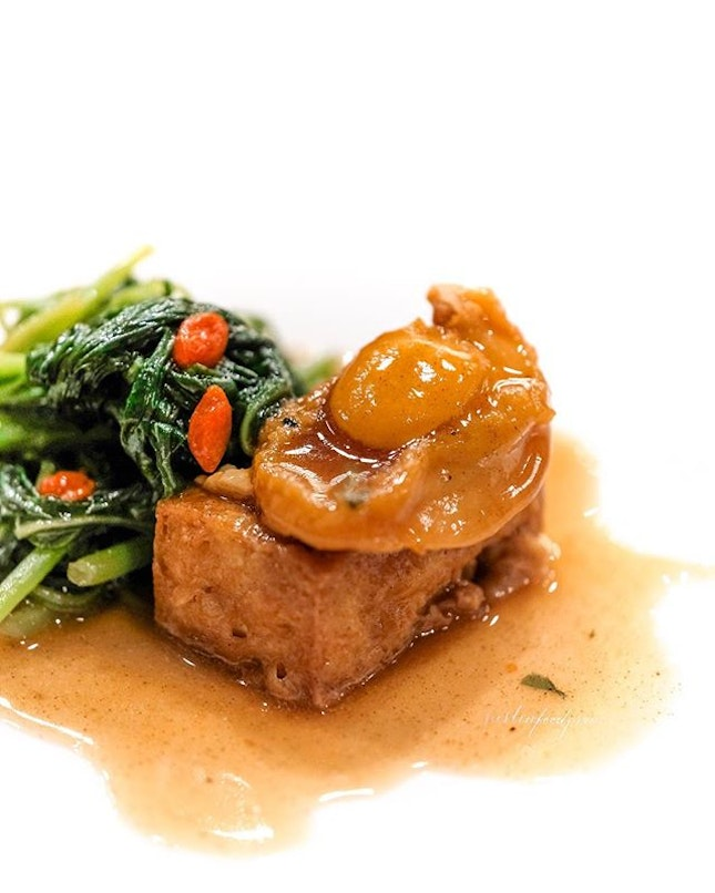Braised 10-Head Abalone with Signature Tofu and Spinach in Cordyceps Sauce (part of Mother's Day 8 course menu at $49.80).