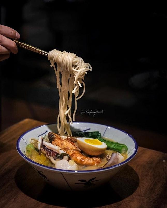 Hibiki Whisky Seafood Soup La Mian ($28).