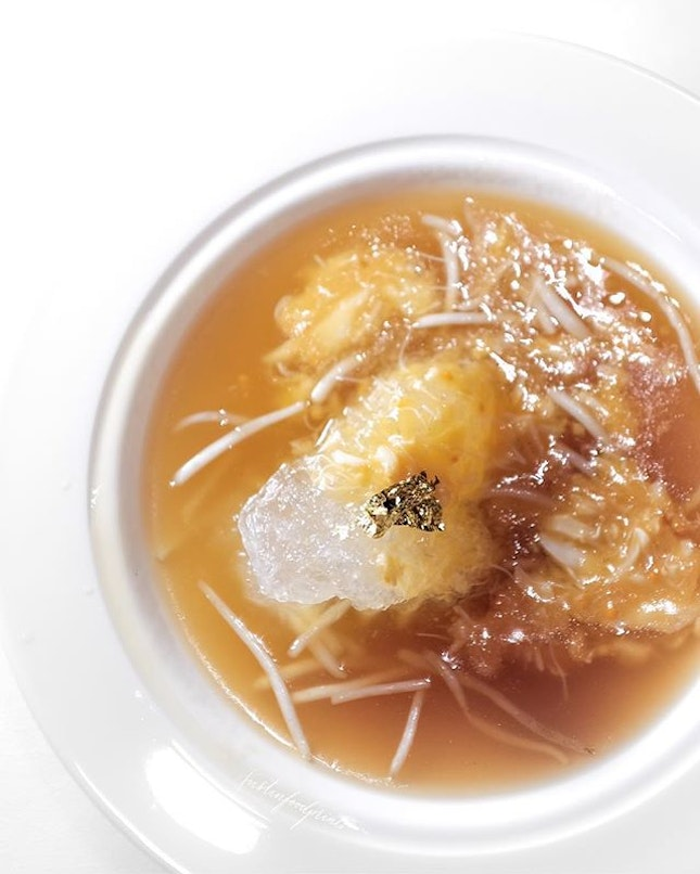 [CNY Menu available from today] Bird's Nest, Crab Meat and Crab Roe in Supreme Stock (part of 7 course $218++/pax menu).