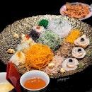 Hokkaido King Scallop, Black Caviar Yu Sheng ($336++ for large).
